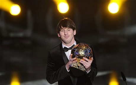 Lionel Messi wins the 2010 FIFA Ballon d'Or over Barca teammates Xavi and Andres Iniesta