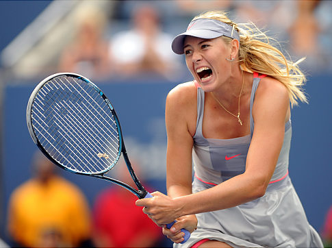 Sharapova en route to winning her 1st-round match earlier this week