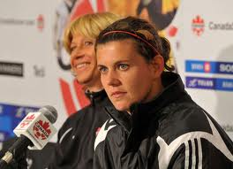Christine Sinclair (r), with former Canadian Women's coach Carolina Morace