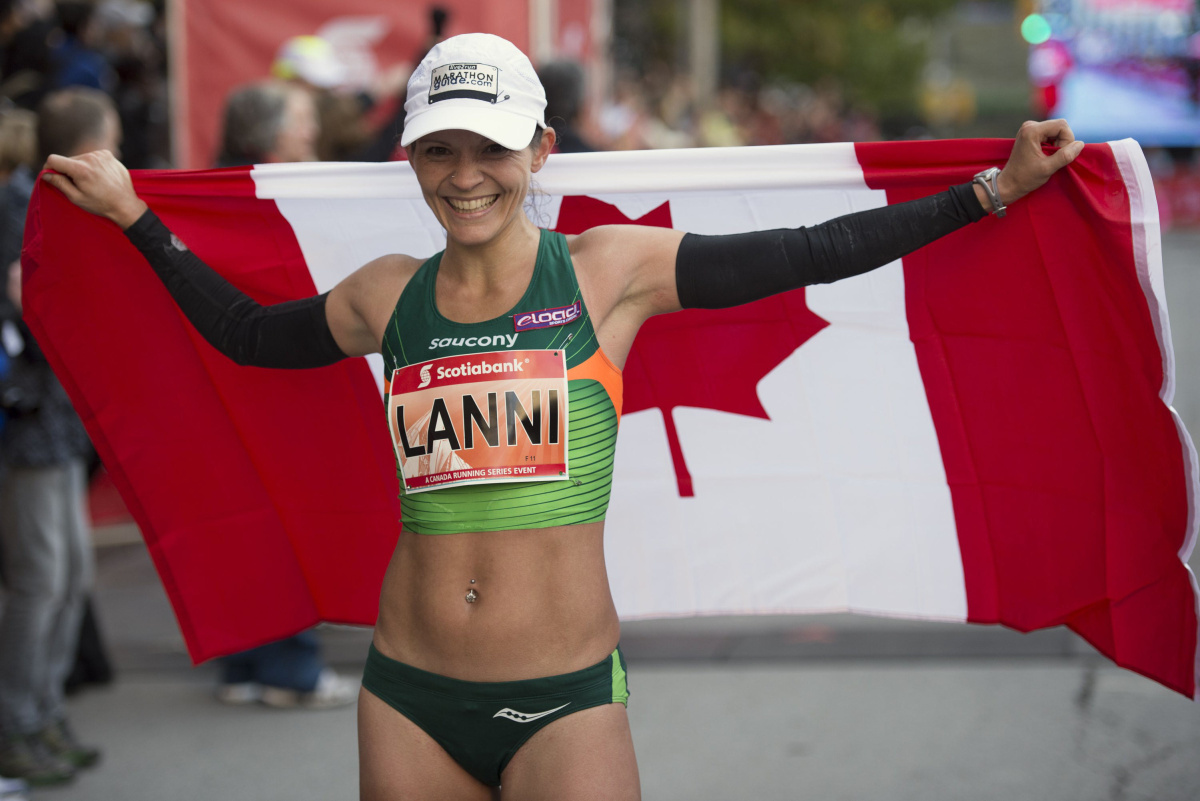 Lanni Marchant after winning 2016's Toronto Waterfront Marathon